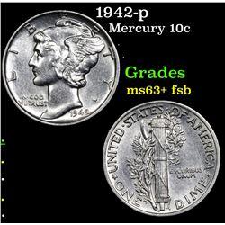 1942-p Mercury Dime 10c Grades Select Unc+ FSB