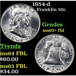 1954-d Franklin Half Dollar 50c Grades Select Unc+ FBL