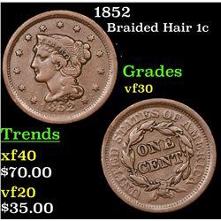 1852 Braided Hair Large Cent 1c Grades vf++