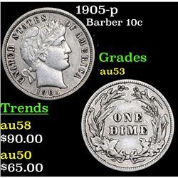 1905-p Barber Dime 10c Grades Select AU