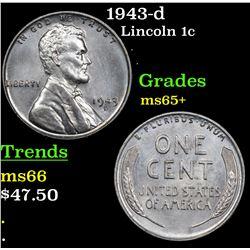 1943-d Lincoln Cent 1c Grades GEM+ Unc