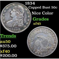 1834 Capped Bust Half Dollar 50c Grades xf+
