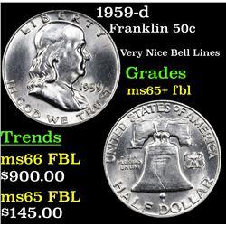 1959-d Franklin Half Dollar 50c Grades GEM+ FBL