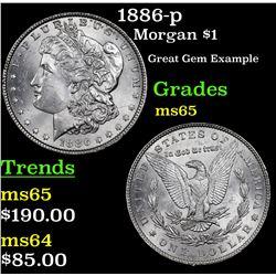 1886-p Morgan Dollar $1 Grades GEM Unc
