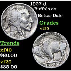 1927-d Buffalo Nickel 5c Grades vf++