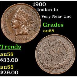 1900 Indian Cent 1c Grades Choice AU/BU Slider