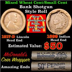 Mixed small cents 1c orig shotgun roll, 1917-d Wheat Cent, 1899 Indian Cent other end