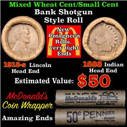 Mixed small cents 1c orig shotgun roll, 1918-s Wheat Cent, 1888 Indian Cent other end