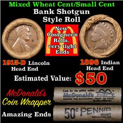 Mixed small cents 1c orig shotgun roll,1913-d Wheat Cent,1896 Indian Cent other end