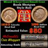 Image 1 : Mixed small cents 1c orig shotgun roll,1913-d Wheat Cent,1896 Indian Cent other end