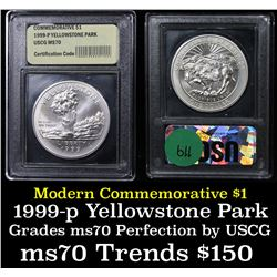 1999-p Yellowstone Modern Commem Dollar $1 Grades ms70, Perfection