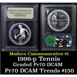 1996-P Olympics Tennis Modern Commem Dollar $1 Grades GEM++ Proof Deep Cameo