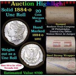 ***Auction Highlight*** Full UNCIRCULATED solid date 1884-o Morgan silver $1 roll, 20 coins   (fc)