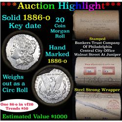 ***Auction Highlight*** Full solid date 1886-o Morgan silver dollar roll, 20 coins   (fc)