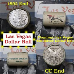 ***Auction Highlight*** Full Morgan/Peace Flamingo Hotel silver $1 roll $20, 1892 & cc ends (fc)