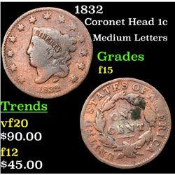 1832 Coronet Head Large Cent 1c Grades f+
