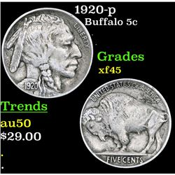 1920-p Buffalo Nickel 5c Grades xf+