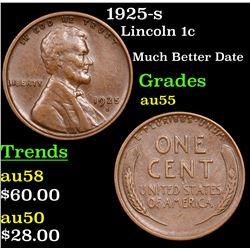 1925-s Lincoln Cent 1c Grades Choice AU