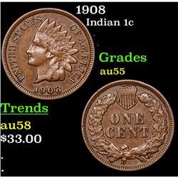 1908 Indian Cent 1c Grades Choice AU