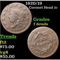 1820/19 Coronet Head Large Cent 1c Grades f details