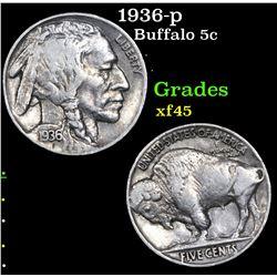 1936-p Buffalo Nickel 5c Grades xf+