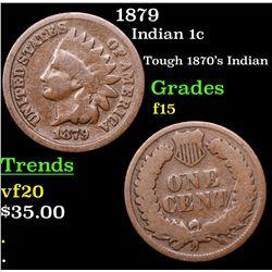 1879 Indian Cent 1c Grades f+
