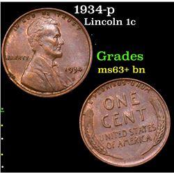 1934-p Lincoln Cent 1c Grades Select+ Unc BN