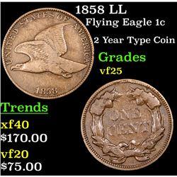 1858 LL Flying Eagle Cent 1c Grades vf+