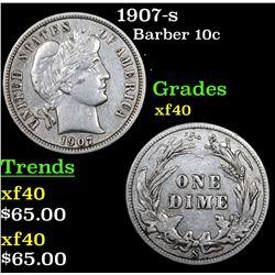 1907-s Barber Dime 10c Grades xf