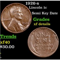 1926-s Lincoln Cent 1c Grades xf details