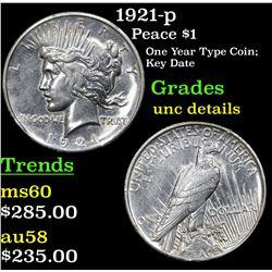 1921-p Peace Dollar $1 Grades Unc Details