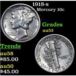 1918-s Mercury Dime 10c Grades Select AU
