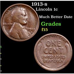 1913-s Lincoln Cent 1c Grades f+
