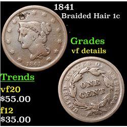 1841 Braided Hair Large Cent 1c Grades vf details