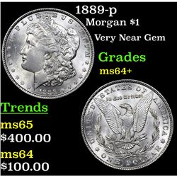 1889-p Morgan Dollar $1 Grades Choice+ Unc