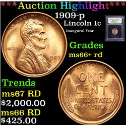 ***Auction Highlight*** 1909-p Lincoln Cent 1c Graded GEM++ RD By USCG (fc)
