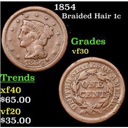1854 Braided Hair Large Cent 1c Grades vf++