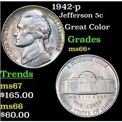 1942-p Jefferson Nickel 5c Grades GEM++ Unc