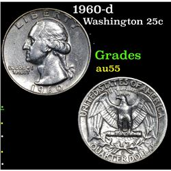 1960-d Washington Quarter 25c Grades Choice AU