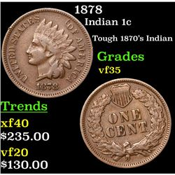 1878 Indian Cent 1c Grades vf++