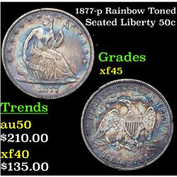 1877-p Rainbow Toned Seated Half Dollar 50c Grades xf+