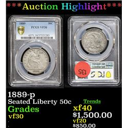***Auction Highlight*** PCGS 1889-p Seated Half Dollar 50c Graded vf30 By PCGS (fc)