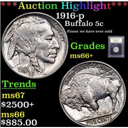 ***Auction Highlight*** 1916-p Buffalo Nickel 5c Graded GEM++ Unc By USCG (fc)