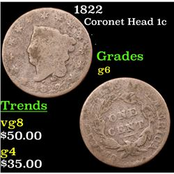 1822 Coronet Head Large Cent 1c Grades g+