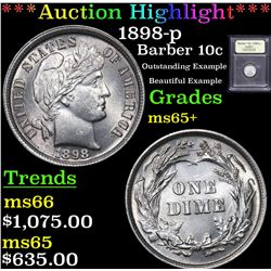 ***Auction Highlight*** 1898-p Barber Dime 10c Graded GEM+ Unc By USCG (fc)