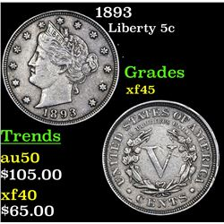 1893 Liberty Nickel 5c Grades xf+
