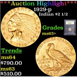 ***Auction Highlight*** 1929-p Gold Indian Quarter Eagle $2 1/2 Graded Select+ Unc By USCG (fc)