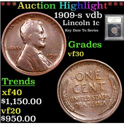 ***Auction Highlight*** 1909-s vdb Lincoln Cent 1c Graded vf++ By USCG (fc)