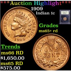 ***Auction Highlight*** 1909 Indian Cent 1c Graded Gem+ Unc RD By USCG (fc)