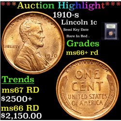 ***Auction Highlight*** 1910-s Lincoln Cent 1c Graded GEM++ RD By USCG (fc)